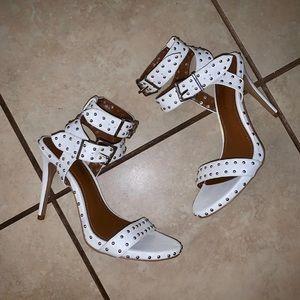 White stud heels